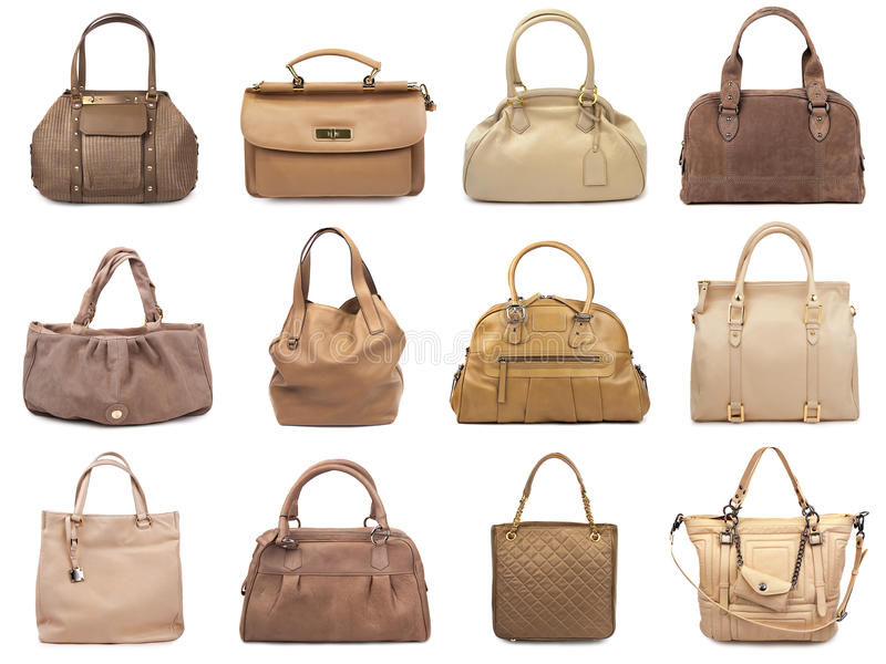 Download Set of beige female bags-1 stock photo. Image of beautiful - 24979518