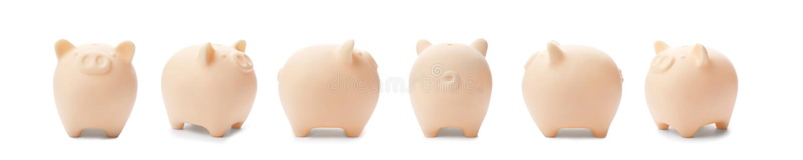 Set with beige piggy bank from different views. On white background stock photography