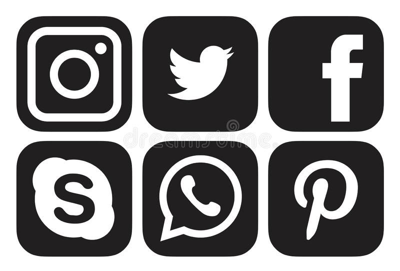 Set beliebte Social-Media-Logos Icons Instagram , Facebook , Twitter, WhatsApp, pinterest,skype-Element-Vektor lizenzfreie abbildung