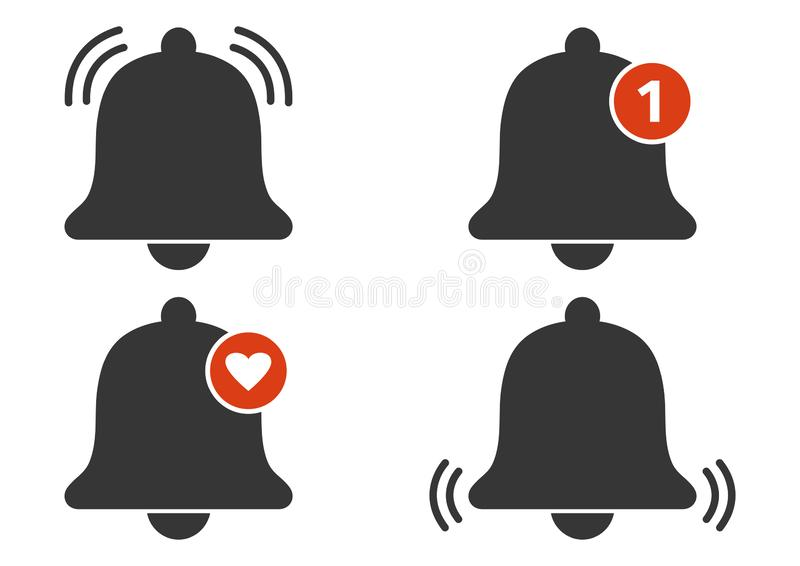 Set of bell icons. Incoming message notification. Vector. Illustration stock illustration