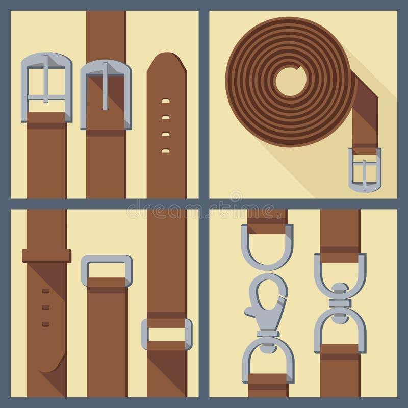 Set of belt, buckle and carabiner stock illustration