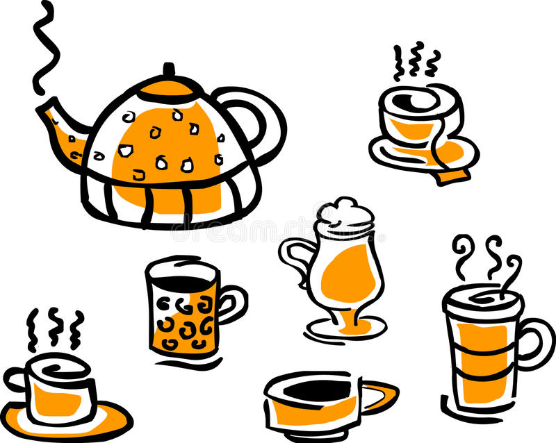 Set of beverage cups and tea pot vector illustration