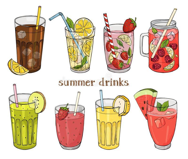 Set bezalkoholowi lato napoje Cytryna, truskawka, malinka, arbuz, banan i kiwi, ilustracja wektor