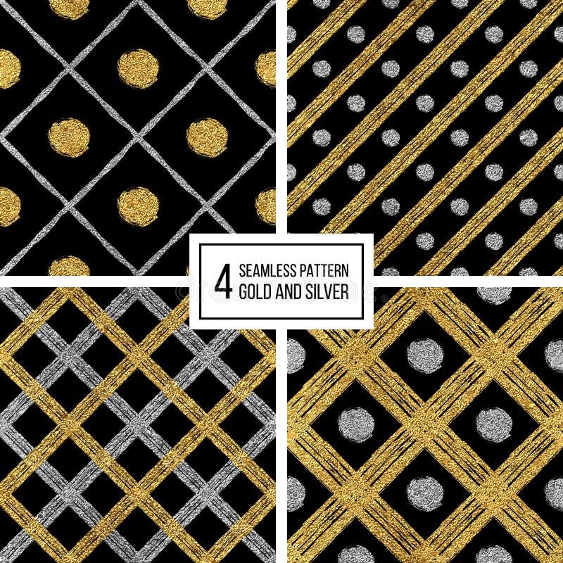 Set bezszwowe deseniowe złote silvern linie, punkty, klatka royalty ilustracja