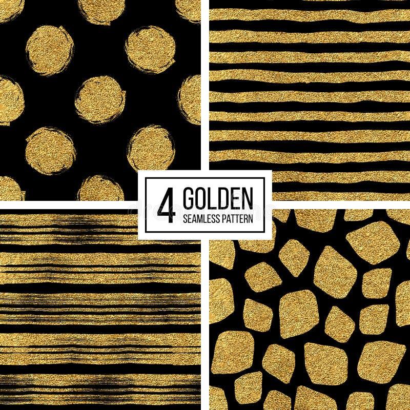Set bezszwowi deseniowi złoto lampasy lub uderzenia, polek kropki, mozaika punkty royalty ilustracja