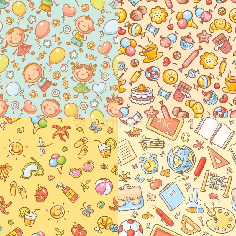Set bezszwowi kolorowi wzory z dzieciakami, cukierki, lato, szkolne rzeczy royalty ilustracja