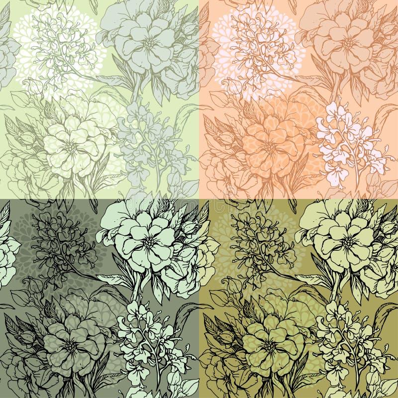 Set bezszwowi tła - Kwiecisty Bezszwowy Patternhand ilustracji