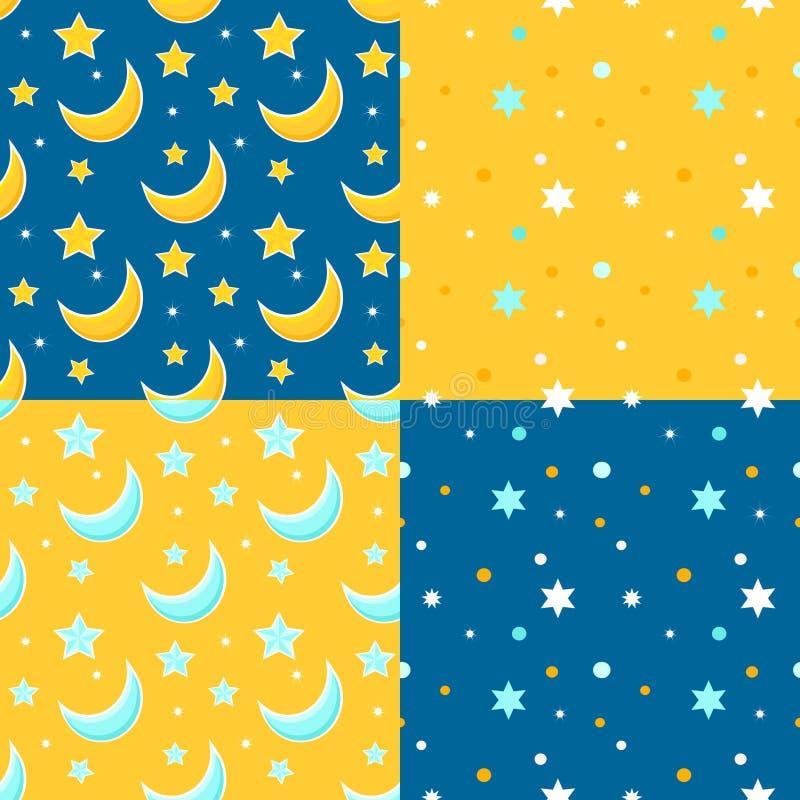 Set bezszwowi tła z księżyc i gwiazdami royalty ilustracja