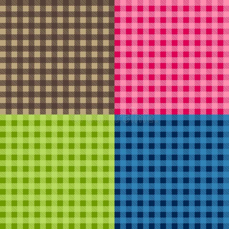 Set bezszwowi tablecloth wektory Bezszwowy tradycyjny tablecloth wzoru wektor Geometrical prosty kwadrata wzór ilustracja wektor