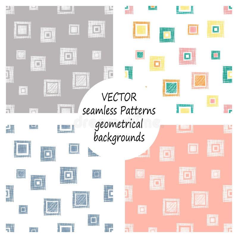 Set bezszwowi wektorowi geometrical wzory z geometrycznymi postaciami, formy pastelowy niekończący się tło z ręką rysującą textur ilustracja wektor