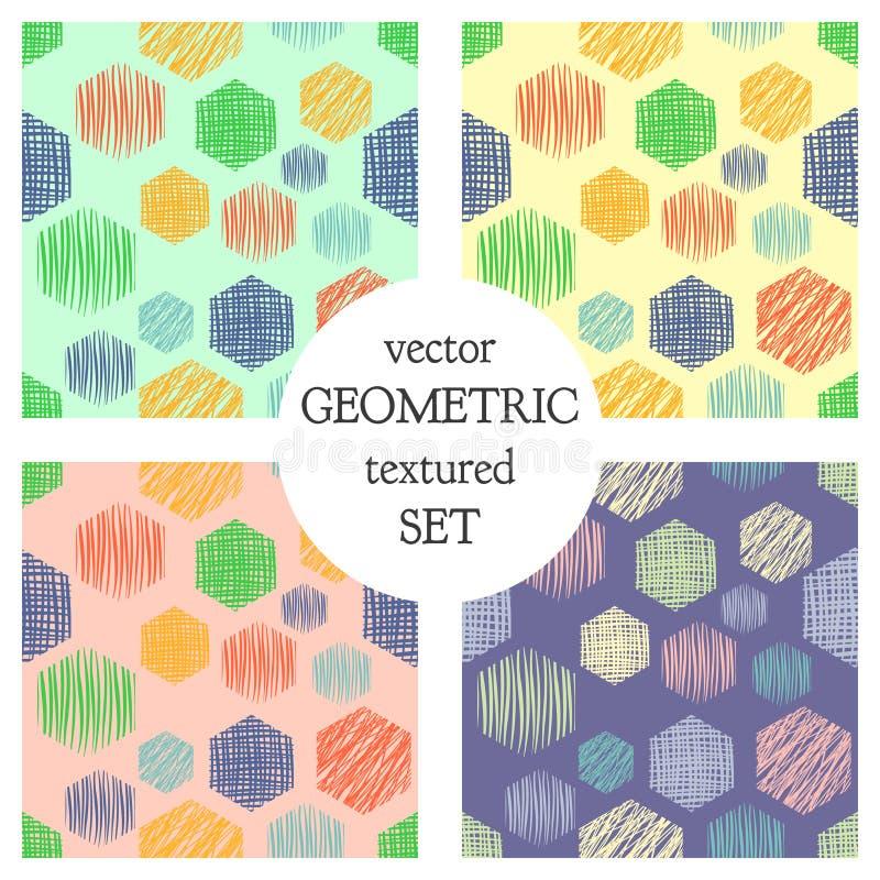 Set bezszwowi wektorowi geometrical wzory z prostokątami pastelowy niekończący się tło z ręką rysującą textured geometryczne post ilustracji