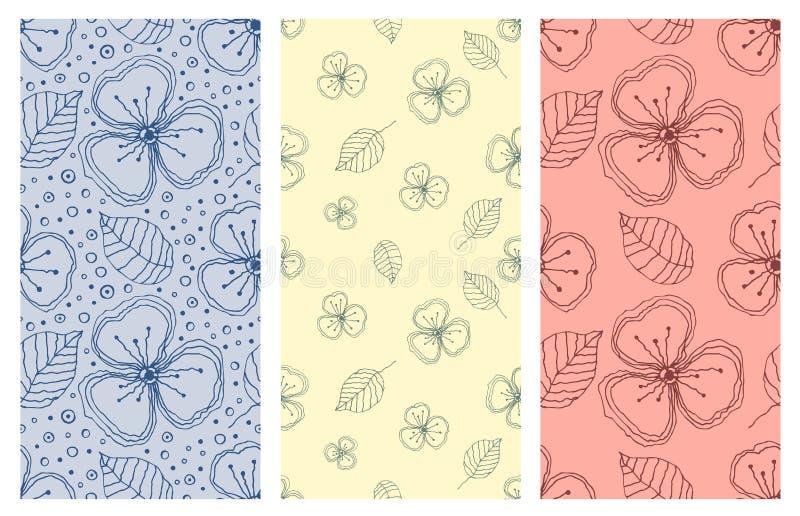 Set bezszwowi wektorowi kwieciści wzory Kolorowa ręka rysujący tło z kwiatami, liście, dekoracyjni elementy Graficzny illustra ilustracji
