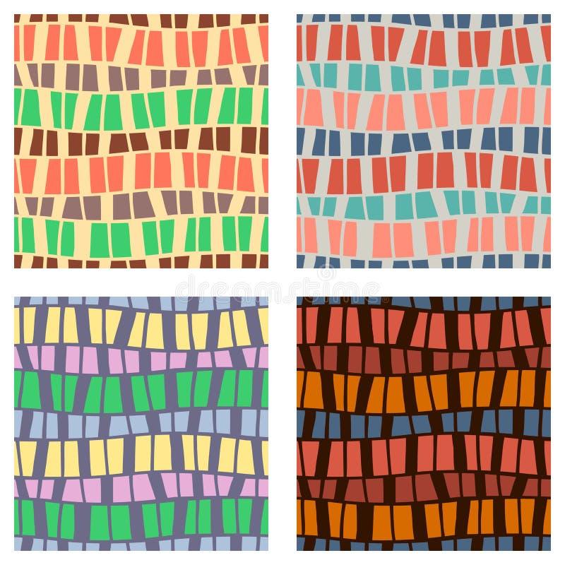 Set bezszwowi wektorowi wzory Kolorowy geometryczny tło w brązie, zieleń, kolor żółty barwi Graficzna ilustracja Powtórka druk ilustracji