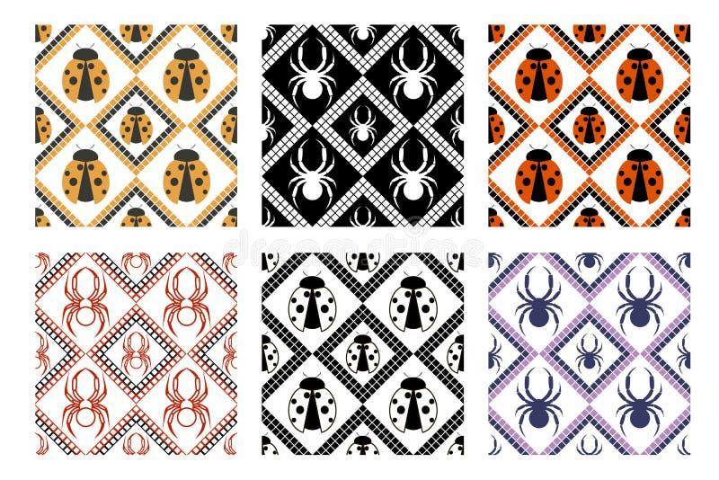 Set bezszwowi wektorowi wzory, symetryczni geometryczni tła z pająkiem i biedronka, royalty ilustracja