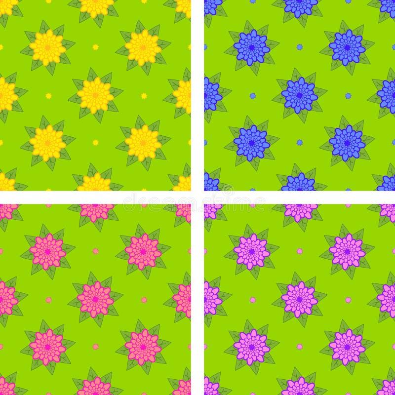 Set bezszwowi wzory kolor żółty, błękit, menchia, purpury kwitnie na zielonym tle ilustracji