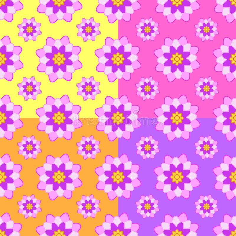 Set bezszwowi wzory menchie kwitnie na koloru żółtego, menchii, pomarańcze i purpur tle, ilustracji