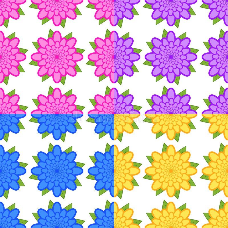 Set bezszwowi wzory menchie, purpury, błękit, kolor żółty kwitnie z zielonymi liśćmi na białym tle royalty ilustracja