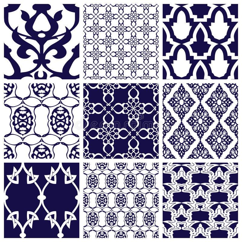 Set Bezszwowi wzory w Arabskim stylu ilustracja wektor