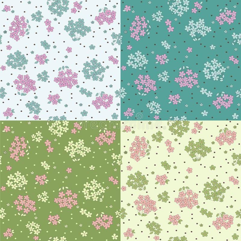 Set bezszwowi wzory z ślicznymi kwiatami royalty ilustracja