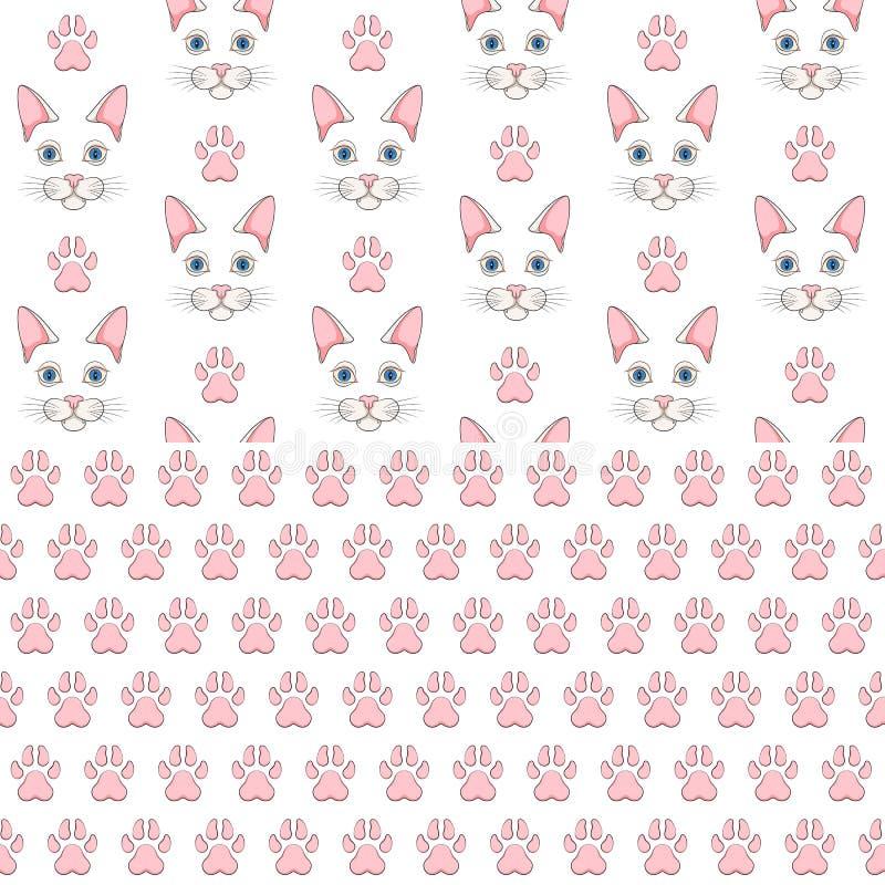 Set bezszwowi wzory z białymi kot łapy i twarzy drukami Barwioni wektorowi tła royalty ilustracja