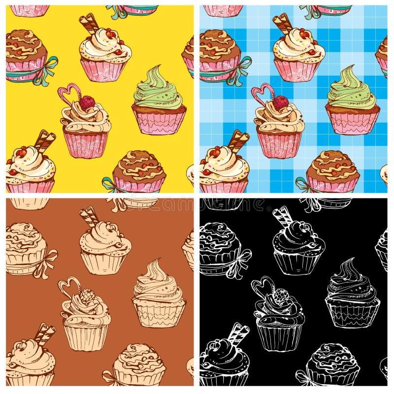 Set bezszwowi wzory z dekorować słodkimi babeczkami ilustracja wektor