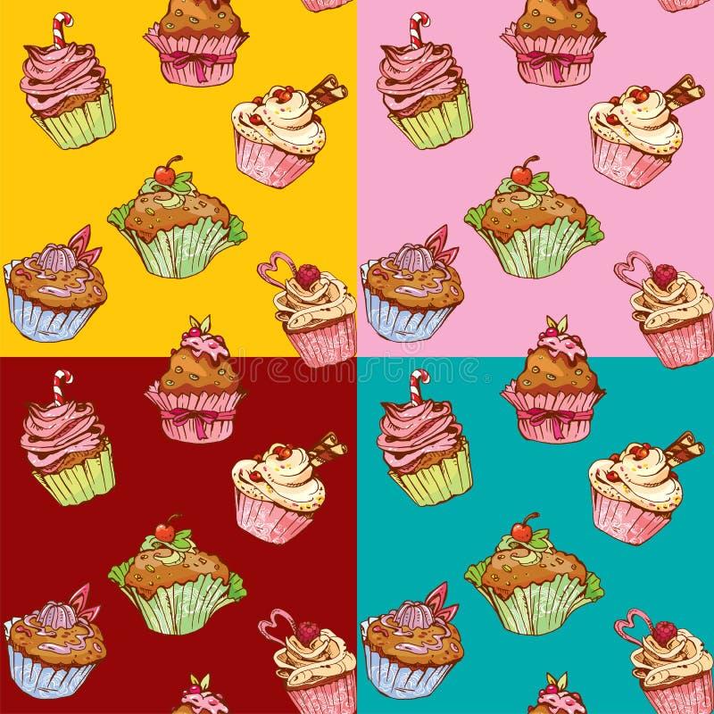 Set bezszwowi wzory z dekorować słodkimi babeczkami royalty ilustracja