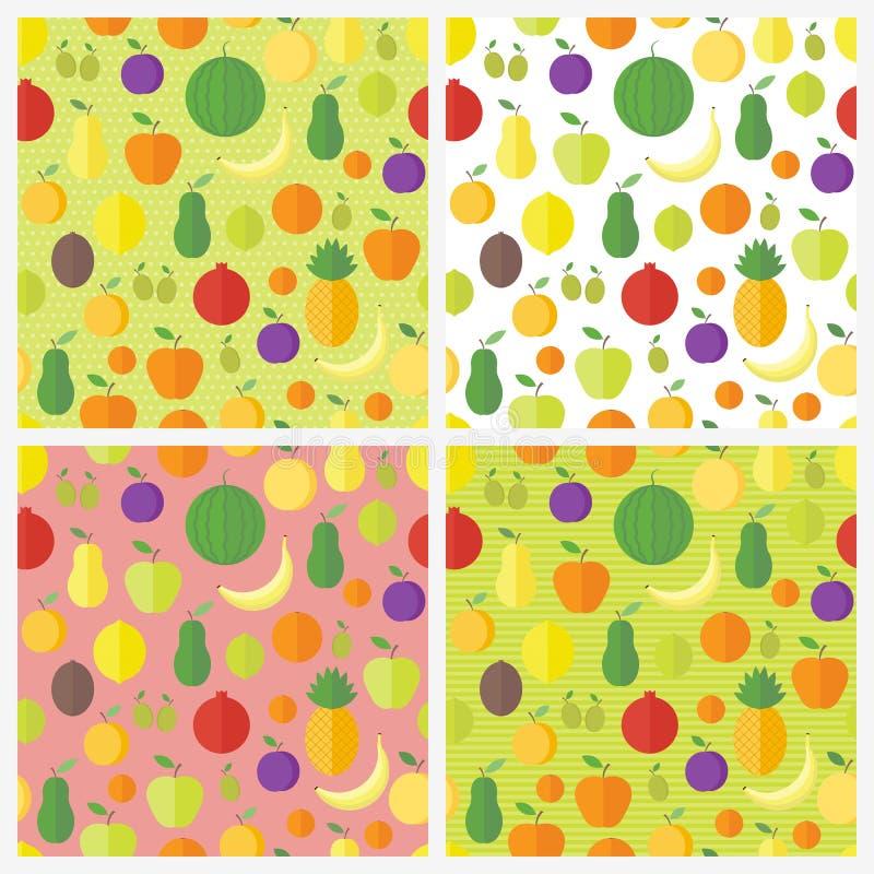 Set bezszwowi wzory z owoc i jagodami tło puszka dobrzy pakunki target2198_1_ wektor ilustracji