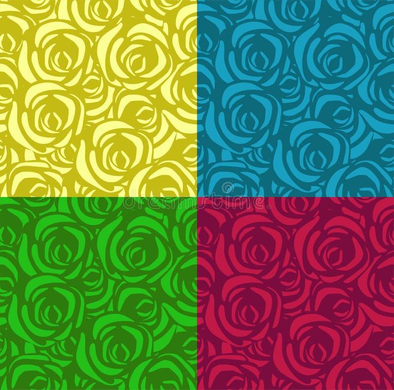 Set bezszwowi wzory z różami w różnych kolorach Obowiązujący dla tkanin, opakunkowego papieru i inny, wektor royalty ilustracja