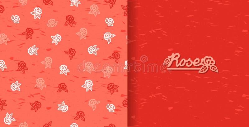 Set bezszwowi wzory z rocznik różami Rocznika tło z kwitnienie kwiatu sylwetką ilustracji
