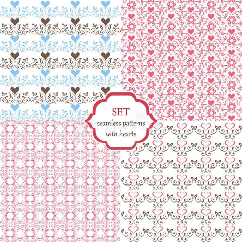 Set bezszwowi wzory z sercami i motylami Menchie, błękit, brown Dekoracyjny ornamentu tło dla tkaniny ilustracji