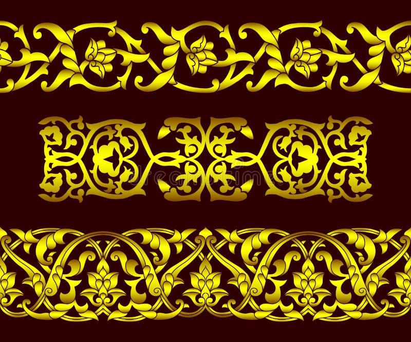 Set bezszwowi złoci wzory i kwieciści elementy w etnicznym obywatela stylu Uzbekistan, Środkowy Azja, wektorowa ilustracja ilustracji
