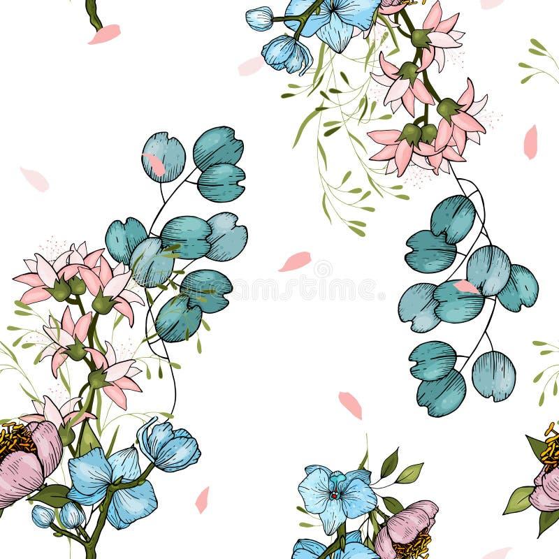 Set bezszwowy kwiecisty ornament dla moda projekta, tkanina druku, tapety, tła z peoniami i orchidei, sieć, tkanina wewnątrz ilustracja wektor