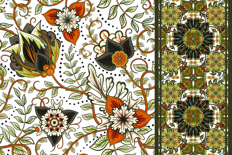 Set bezszwowy kwiecisty wzór i granica dla projekta Ręka remisu wektoru ilustracja kwiaty bezszwowego tło royalty ilustracja