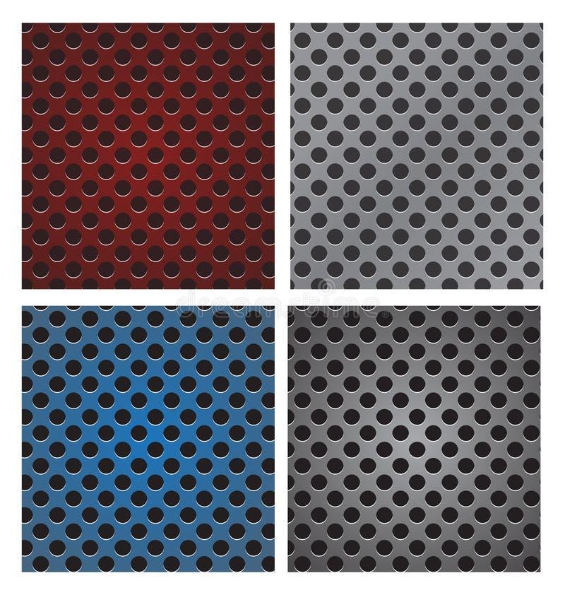Set bezszwowy okrąg dziurkująca węgla grilla głośnikowa tekstura v ilustracji