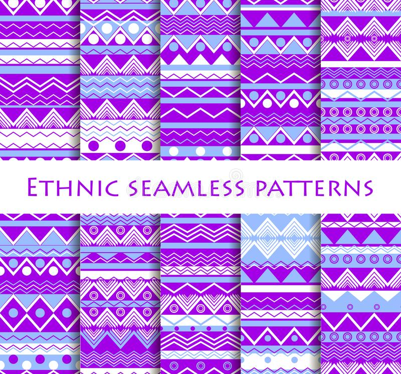 Set bezszwowy w etnicznym stylu Plemienne tkaniny, hipisa styl Dla tapety, łóżkowa pościel, płytki, tkaniny, tła wektor ilustracji