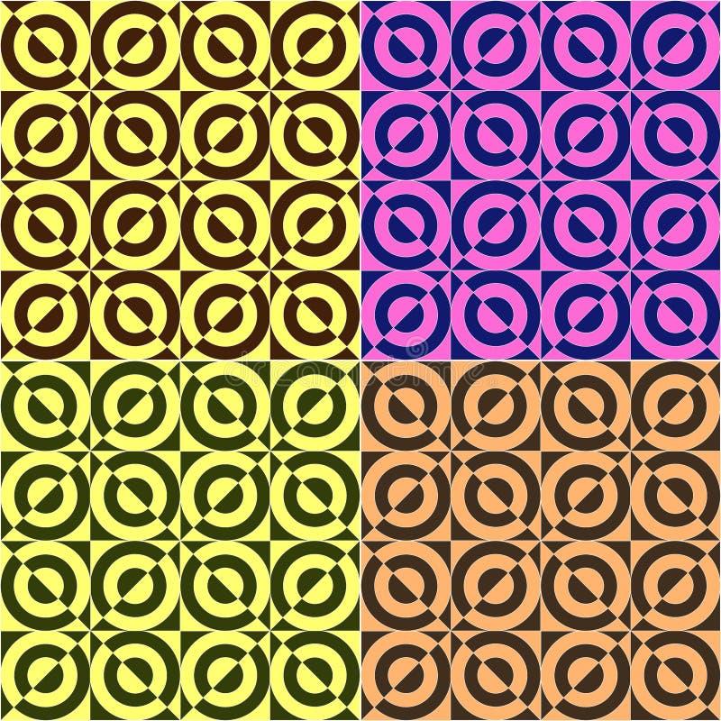 Set bezszwowy wektorowy geometryczny, okręgu kwadrata wzoru tło, set cztery koloru royalty ilustracja