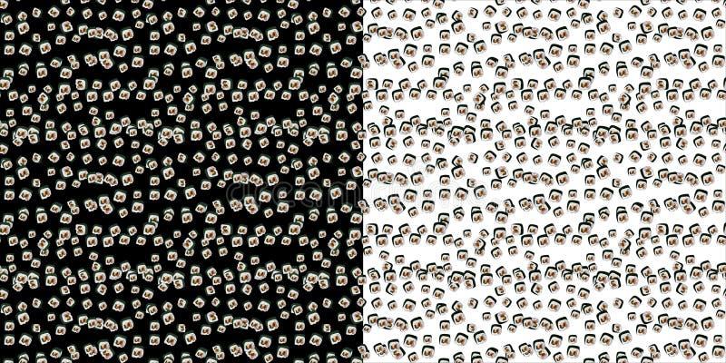 Set bezszwowy wzór z gimbap plasterkami na czarny i biały tle Koreański suszi lub rolka ilustracji
