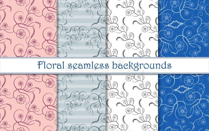 Set bezszwowy wzór z kwiecistym kędzierzawym wzorem ilustracji