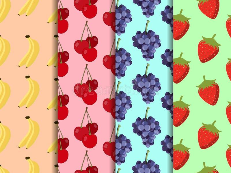 Set bezszwowy wzór z owoc Wzór banany, wiśnie, truskawki i winogrona, ilustracja wektor