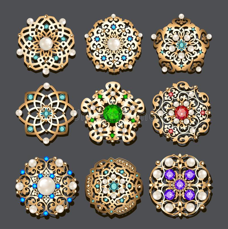 set biżuterii złocista broszka z cennymi kamieniami i perłami ilustracji