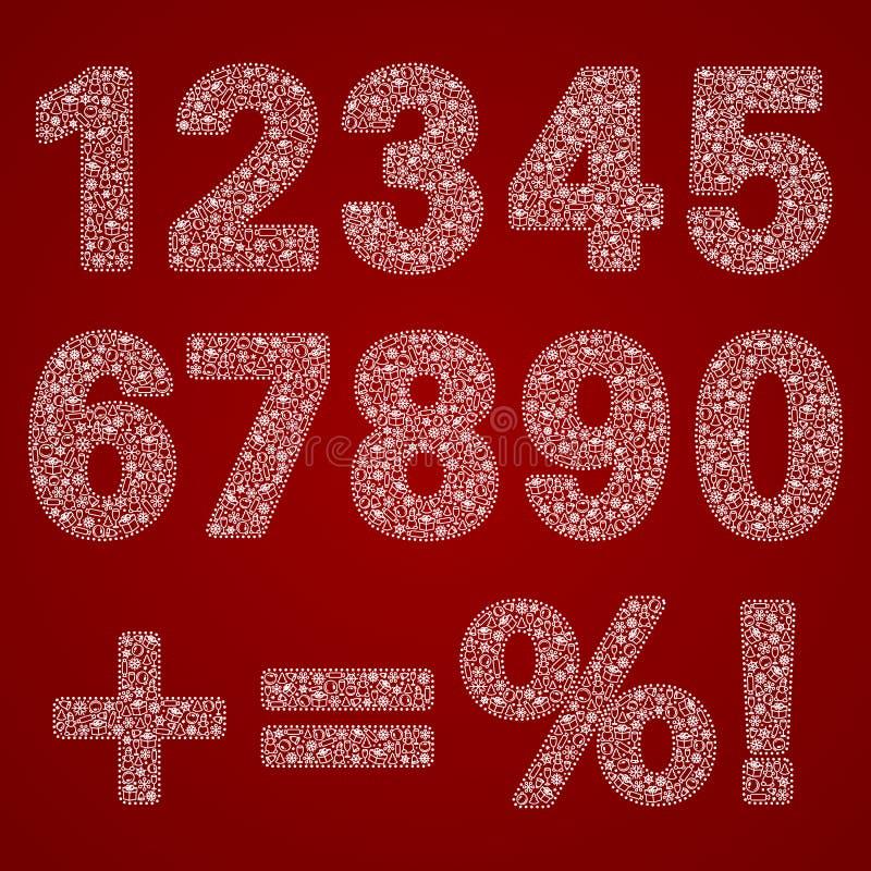 Set białe wektorowe openwork postacie od zero dziewięć i znaki wypełniał z wzorem na nowego roku temacie ilustracji
