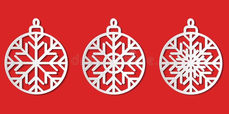 Set białej księgi bauble ikon rżnięty graficzny wektorowy Bożenarodzeniowy iso royalty ilustracja