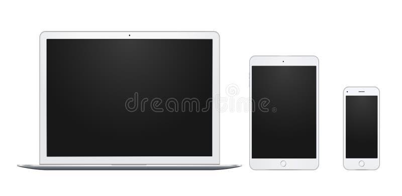 Set biały laptop, pastylka i telefon, wszystko przerzedże i odizolowywa, z pustymi ekranami royalty ilustracja