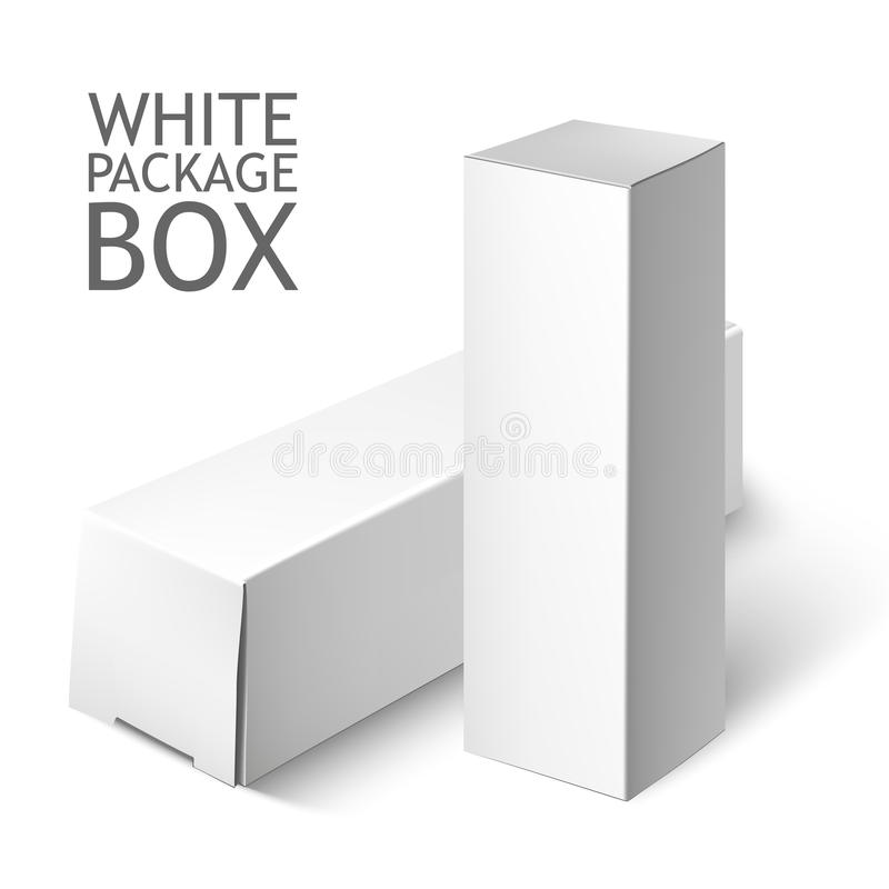 Set Biały pakunku pudełko Mockup szablon ilustracja wektor
