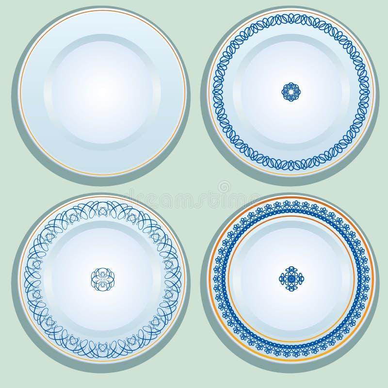 Set Biały porcelana talerz z błękitnym ornamentem, wzorzysty round ilustracja wektor