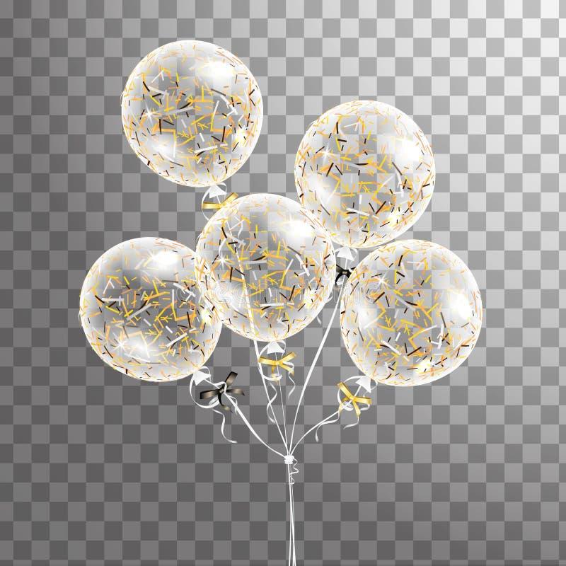 Set biały przejrzysty balon z confetti w powietrzu Frosted przyjęcie szybko się zwiększać dla wydarzenie projekta Partyjne dekora ilustracja wektor