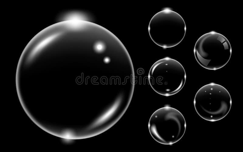 Set biały przejrzysty mydlany lotniczy bąbel, odosobniony na czarnym tle ilustracja wektor