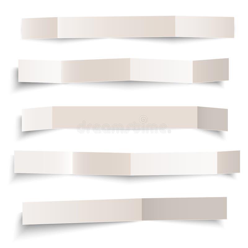 Set biały pustego papieru wektor składał sztandary odizolowywających na bielu royalty ilustracja