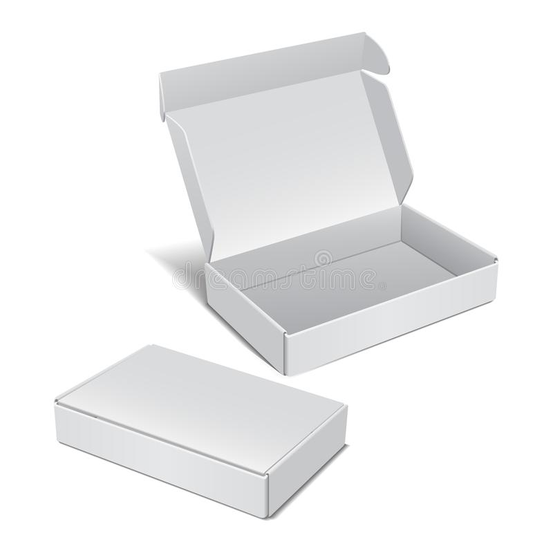 Set Biały Realistyczny karton Wektorowy pakunek dla oprogramowania, urządzenia elektronicznego i innych produktów, ilustracja wektor