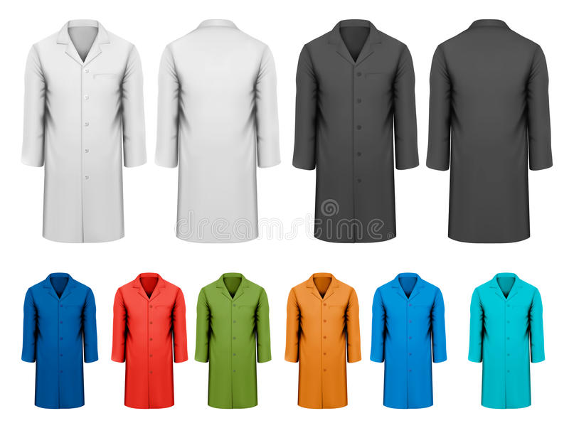 Set biali, czarni i kolorowi prac ubrania. ilustracji